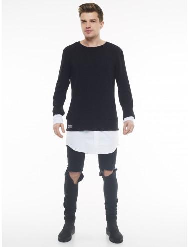 Vyriškas megztinis su marškinių imitacija